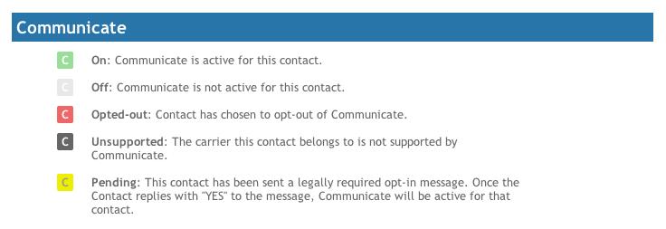 Communicate Contact Status Legend